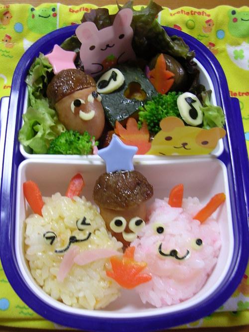 ウサギさんどんぐり拾い弁当